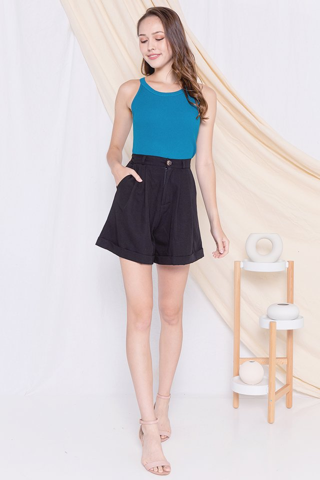 Lorraine Cut-in Ribbed Top (Teal)