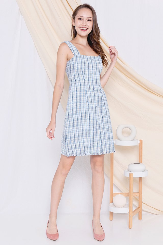 Yale Button Tweed Dress (Blue)