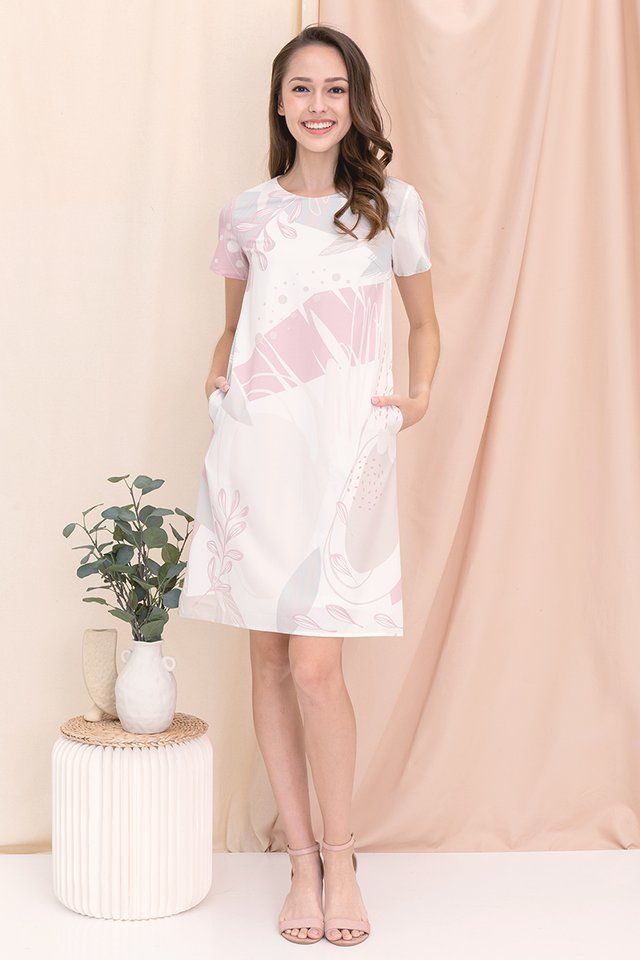 Alanna Abstract Sleeve Dress (Pink)