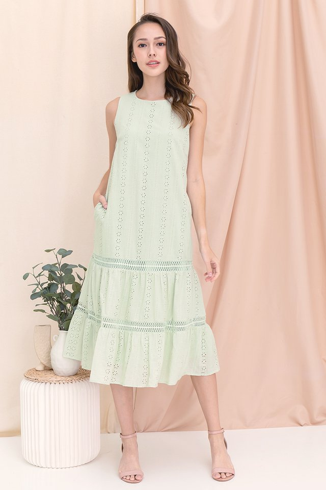 Gracie Eyelet Midi Dress (Green)
