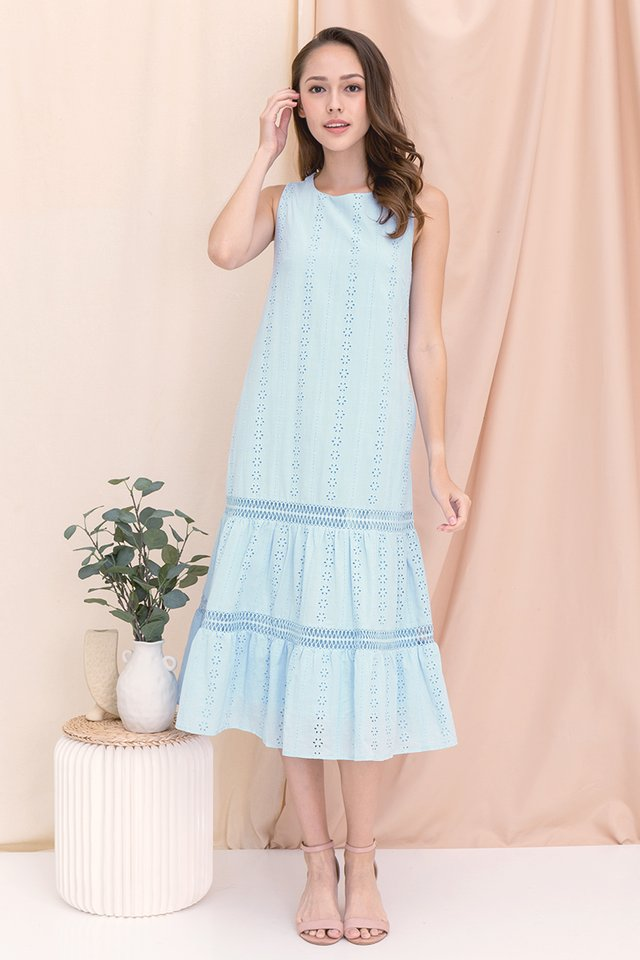Gracie Eyelet Midi Dress (Light Blue)