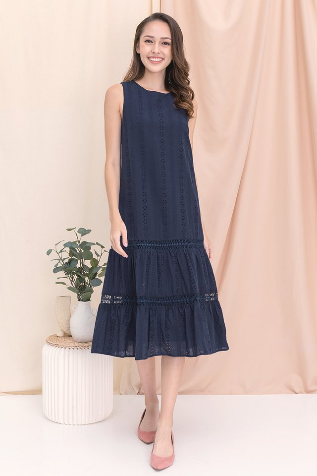 Gracie Eyelet Midi Dress (Navy Blue)