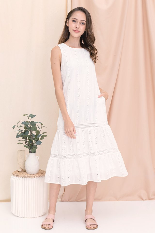 Gracie Eyelet Midi Dress (White)