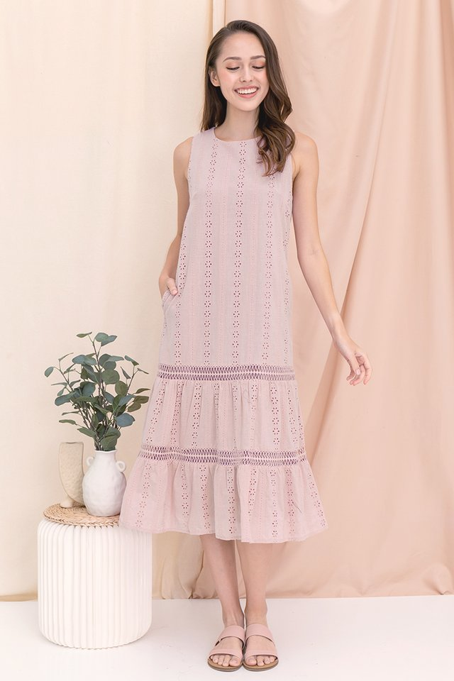 Gracie Eyelet Midi Dress (Pink)