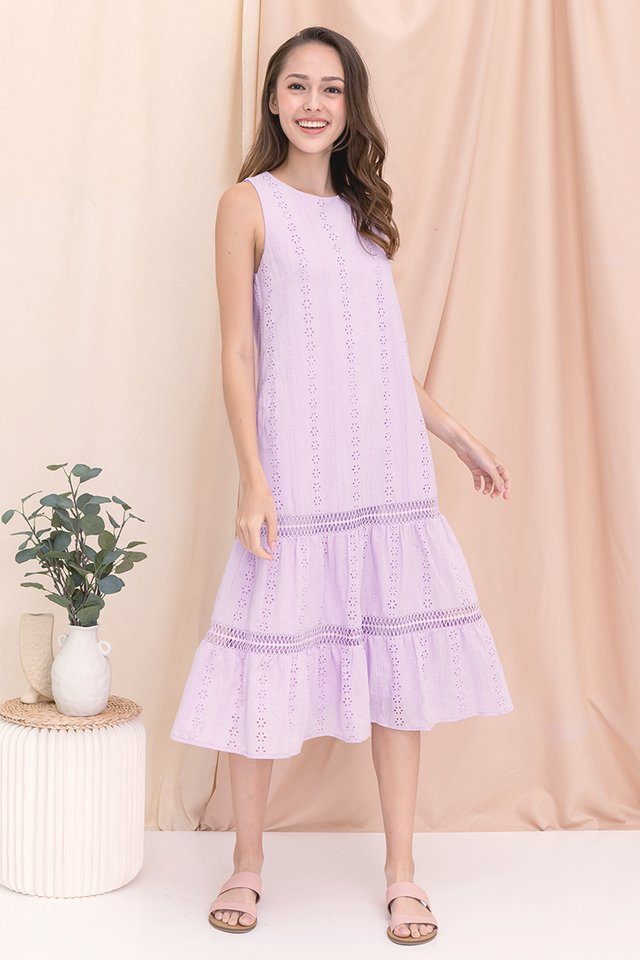 Gracie Eyelet Midi Dress (Lilac)