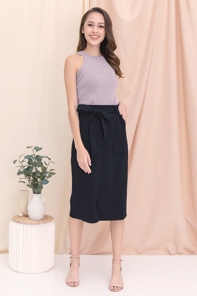 Lorna Utility Midi Skirt (Midnight Blue)