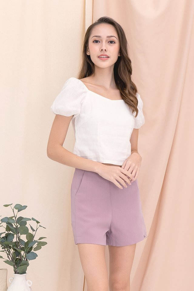Sera Sweetheart Two-way Linen Top (White)