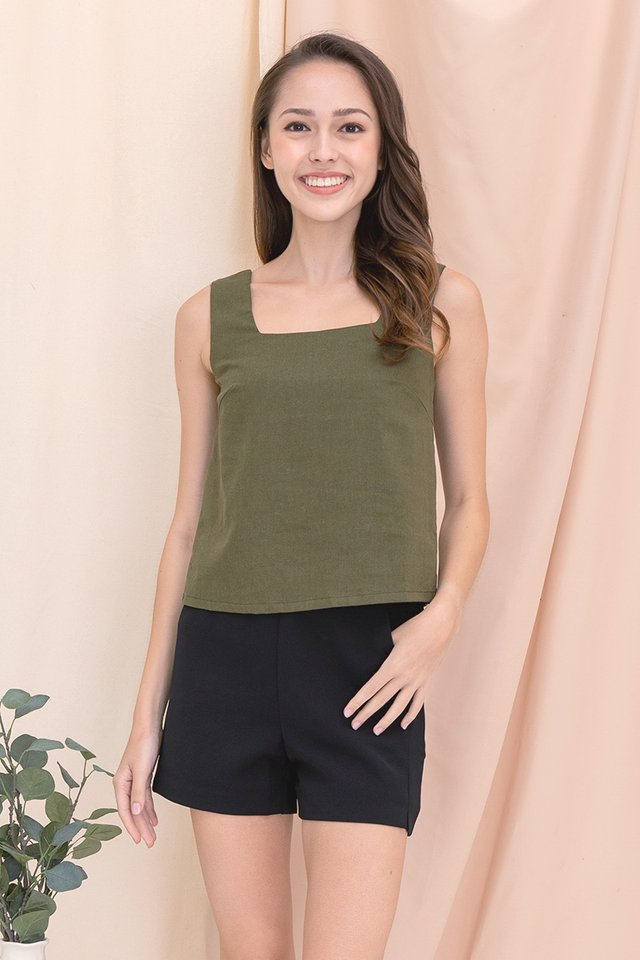 Justina Two-way Linen Top (Olive Green)