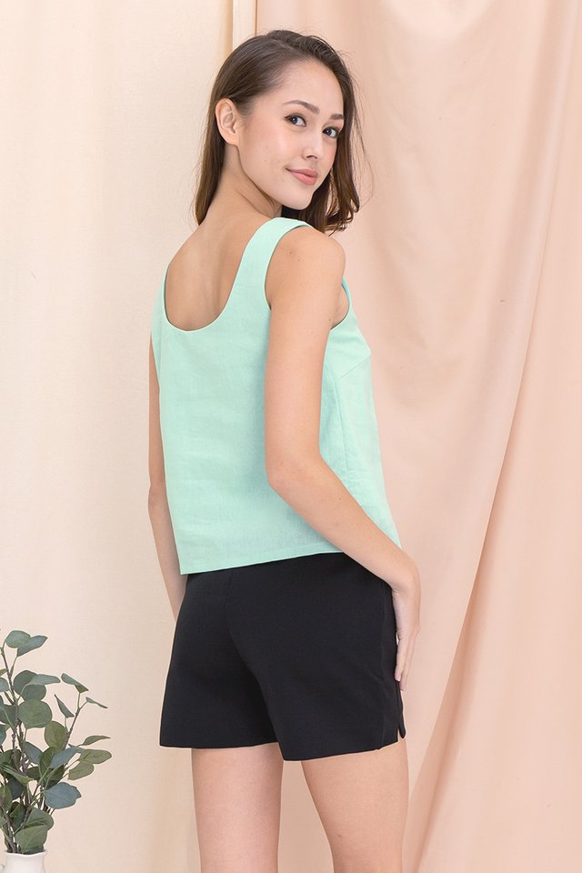 Justina Two-way Linen Top (Mint Green)