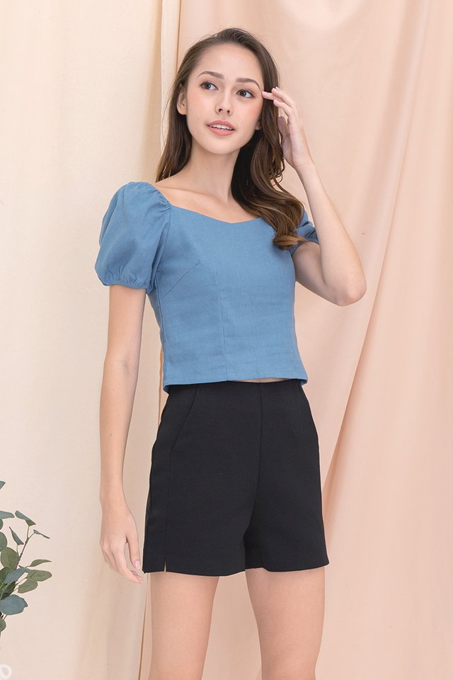 Sera Sweetheart Two-way Linen Top (Blue)
