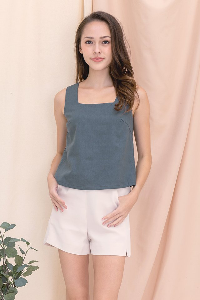 Justina Two-way Linen Top (Steel Blue)