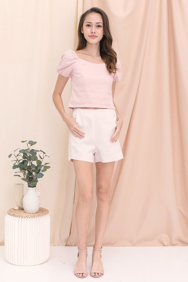Sera Sweetheart Two-way Linen Top (Pink)