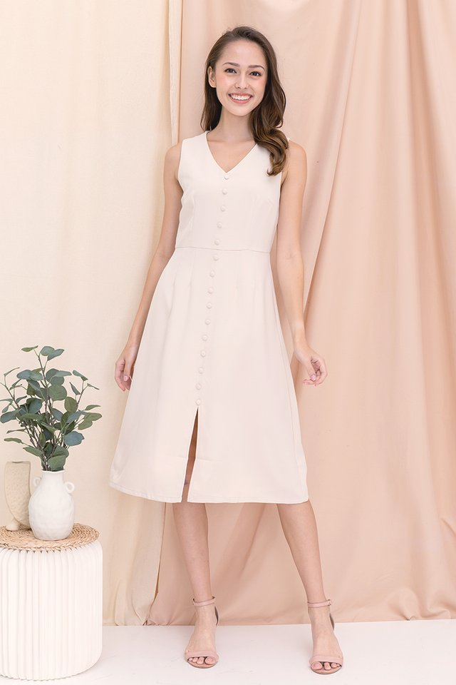 Jolene Button Midi Dress (Cream)