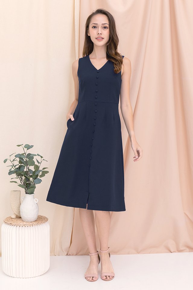 Jolene Button Midi Dress (Navy)