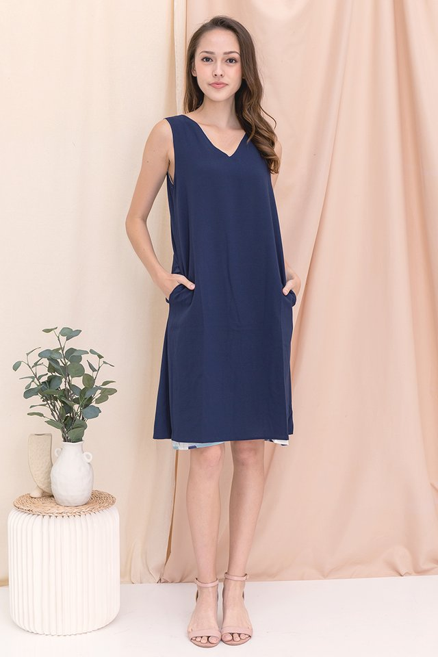 Tess Reversible Abstract Dress (Blue)