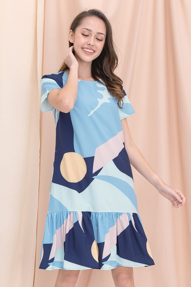 [Backorder] Simone Abstract Mermaid Sleeved Dress (Blue)