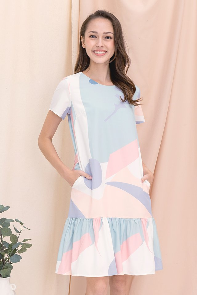 [Backorder] Simone Abstract Mermaid Sleeved Dress (Pastel)