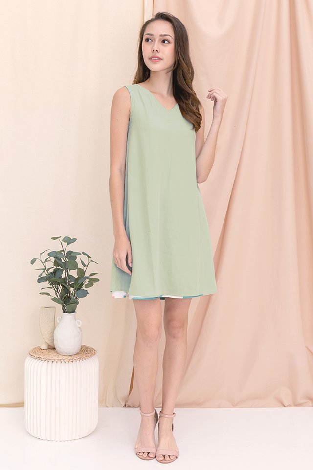 Botanics Abstract Reversible Dress (Sage Green)