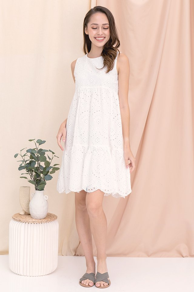 Elise Babydoll Eyelet Dress (White)