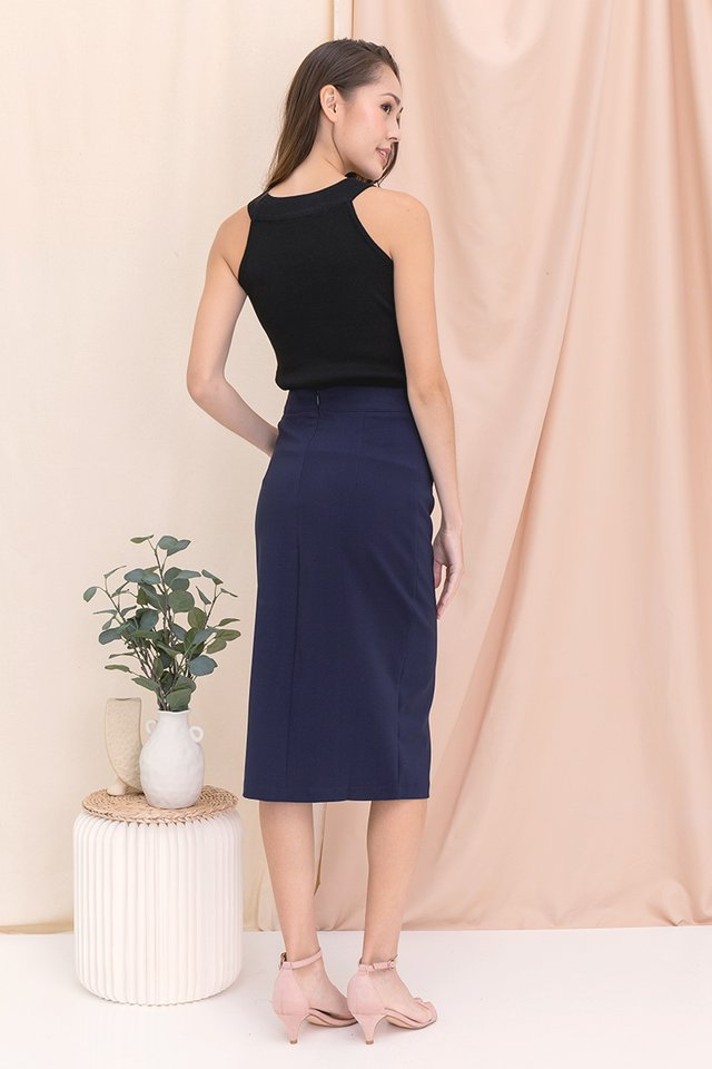 Kim Self-Tie Midi Skirt (Midnight Blue)