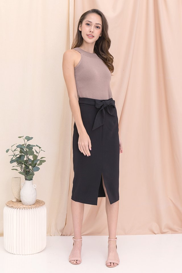 Kim Self-Tie Midi Skirt (Black)