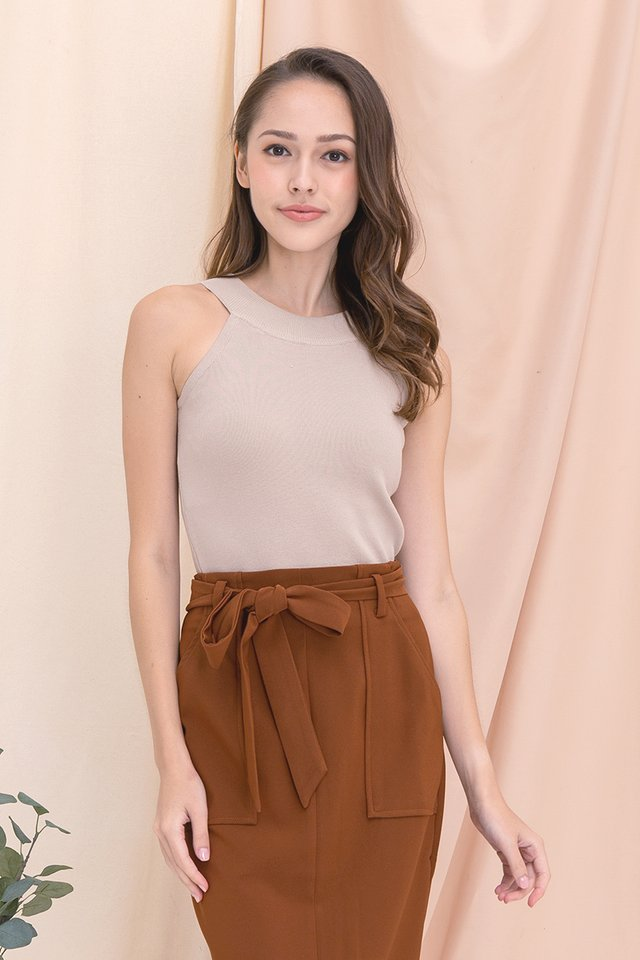 Kadie Cut-in Knit Top (Taupe)