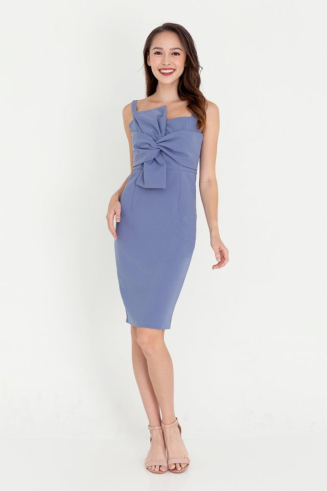 Anissa Bow Pencil Dress (Dusty Blue)
