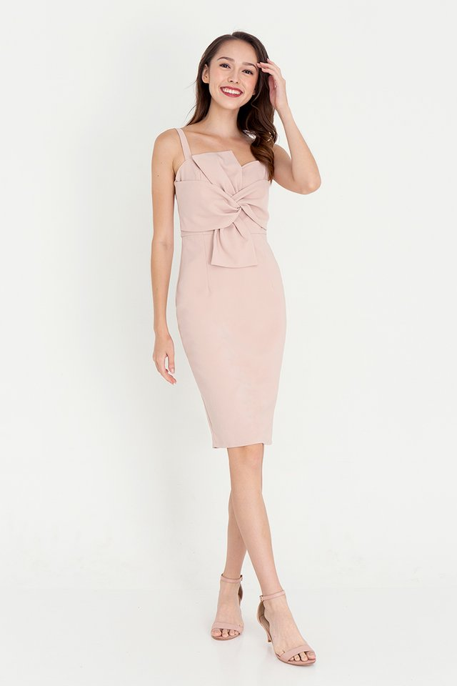 Anissa Bow Pencil Dress (Pink)