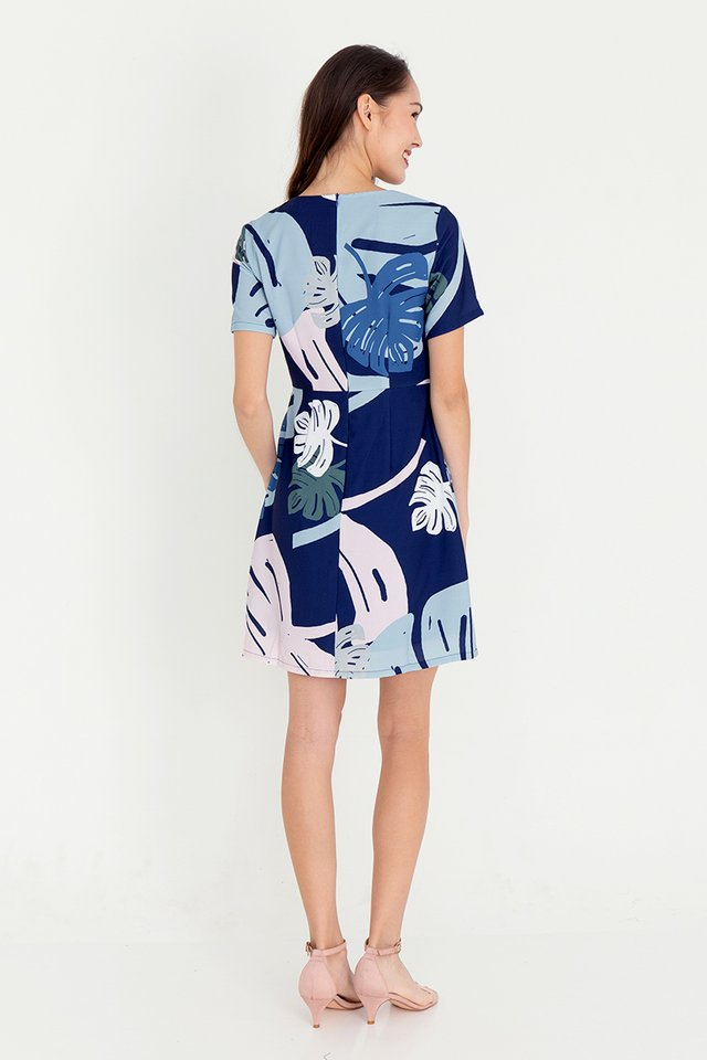Leanne Floral Sleeve Dress (Navy Blue)