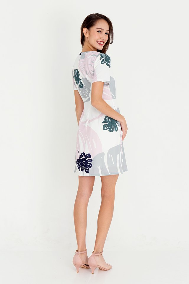 Leanne Floral Sleeve Dress (White)