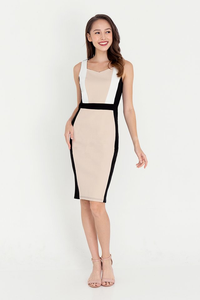 *IN STOCK* Khloe Contrast Dress (Cream)