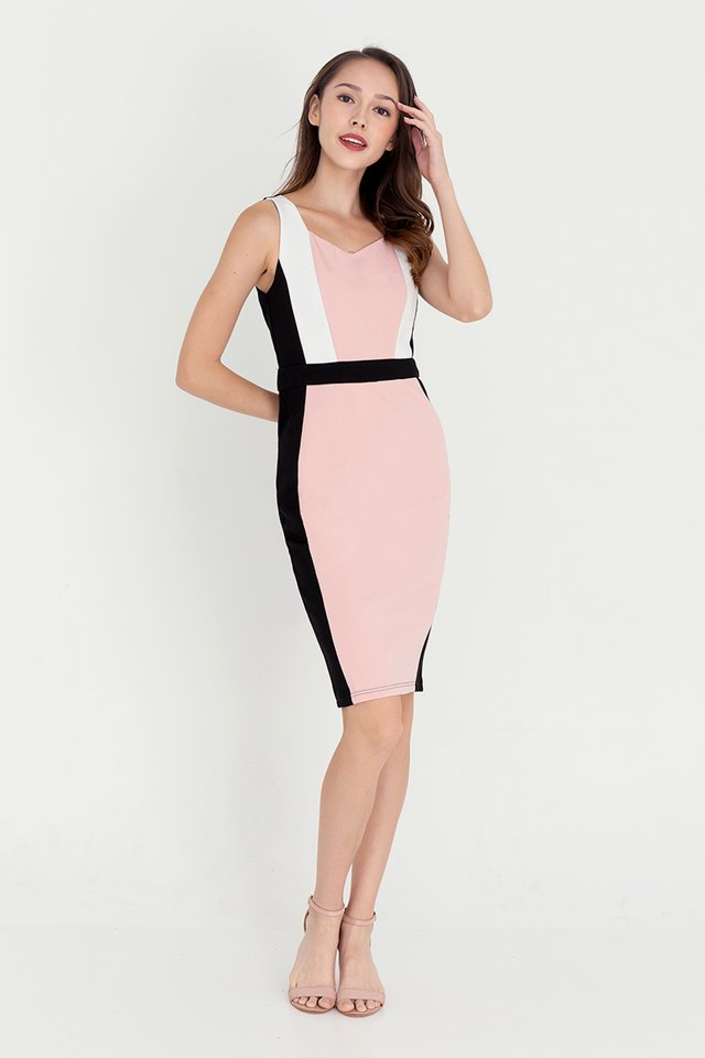 Khloe Contrast Dress (Pink)