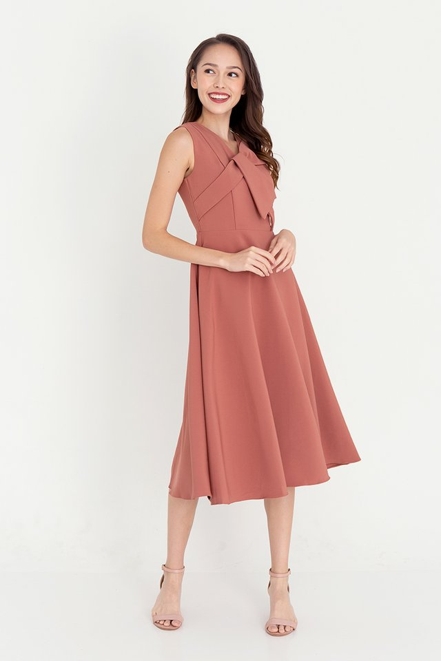 Juliet Midi Dress (Brick Rose)