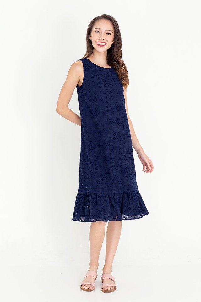 Esther Detachable Hem Eyelet Dress (Navy Blue)