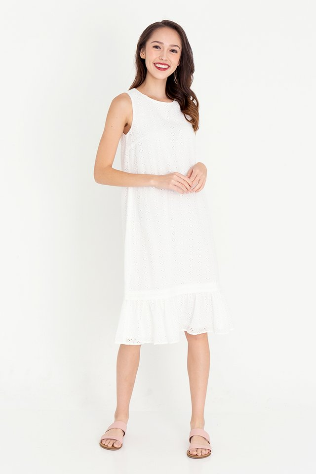 Esther Detachable Hem Eyelet Dress (White)