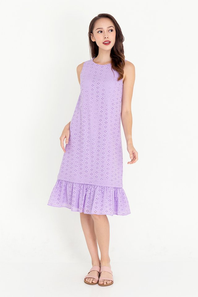 Esther Detachable Hem Eyelet Dress (Lilac)