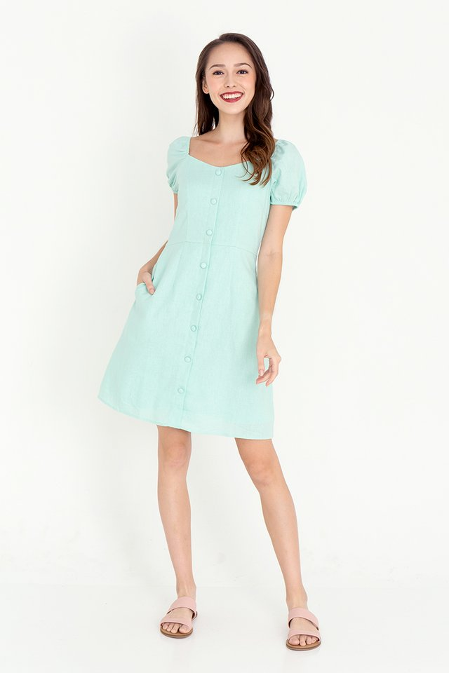 Daria Linen Skater Dress (Green)