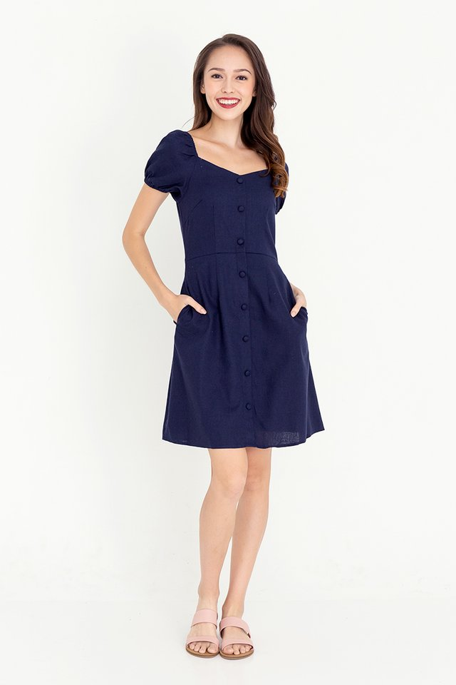 Daria Linen Skater Dress (Midnight Blue)