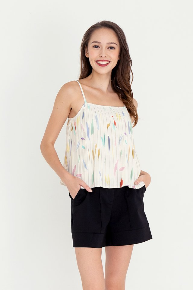 Keera Abstract Pleated Top (Cream)