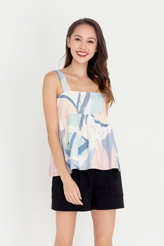 Barbara Abstract Babydoll Top (Blue)