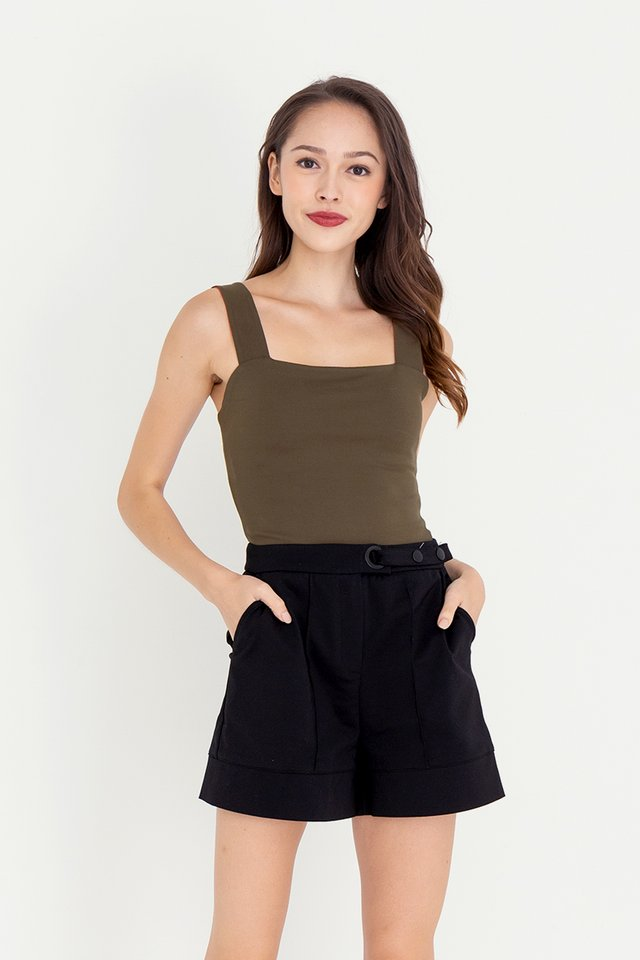 Reine Reversible Crop Top (Orange/Olive)