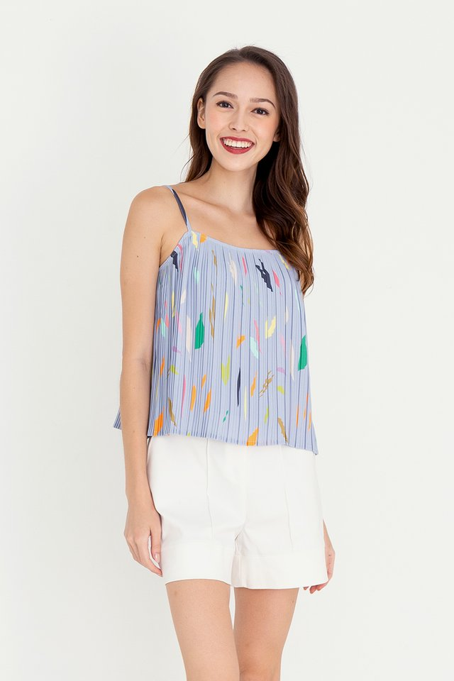 Keera Abstract Pleated Top (Blue)
