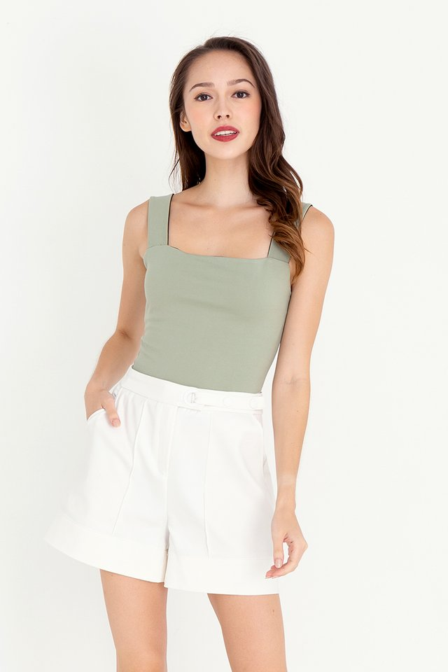 Reine Reversible Crop Top (Sage/Black)