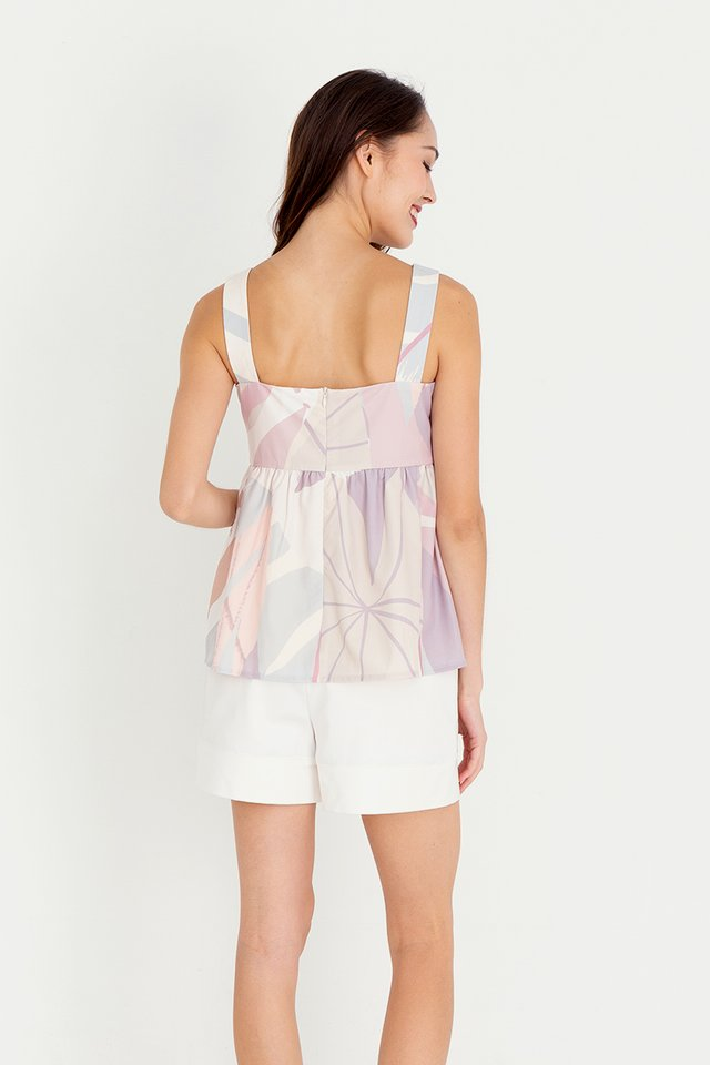 Barbara Abstract Babydoll Top (Pink)