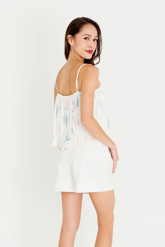 Keera Abstract Pleated Top (White)