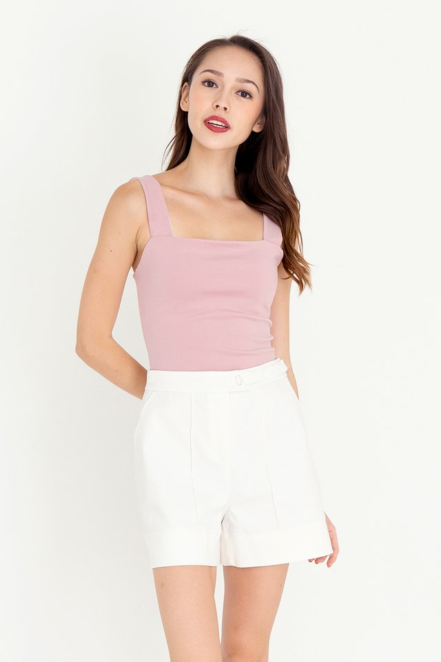Reine Reversible Crop Top (White/Dusty Rose)
