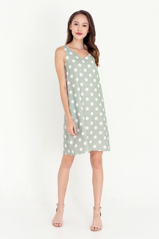 Rios Polka Dot Reversible Dress (Green)