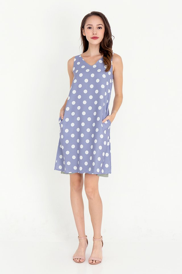 Rios Polka Dot Reversible Dress (Blue)
