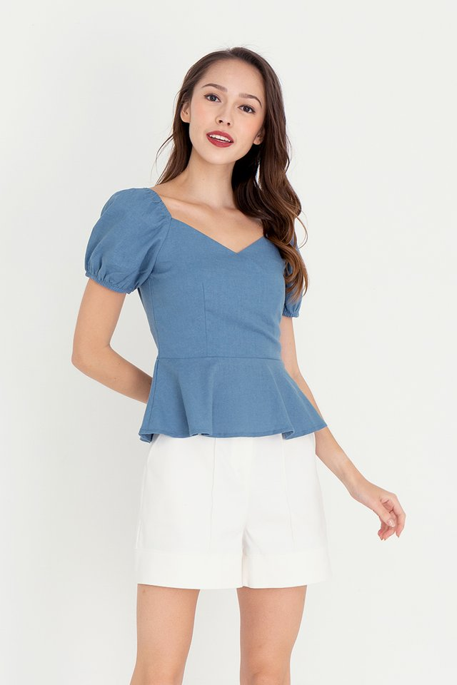 Heather Linen Blouse (Blue)