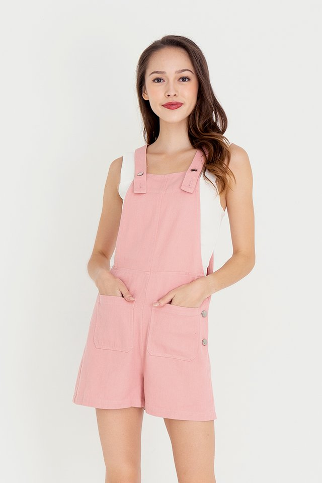 Steph Dungaree Denim Playsuit (Pink)